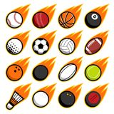 Vector fire flying play sport balls logo icons set. Vector fire flying play sport balls logo icon isolated objects set on white background Royalty Free Stock Photos