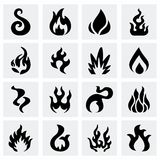 Vector Fire icon set. On grey background Royalty Free Stock Image