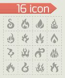 Vector Fire icon set. On grey background Royalty Free Stock Photo