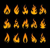 Vector Fire Icons. Set of different fire shapes on black background Stock Images
