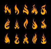 Vector Fire Icons. Set of different fire shapes on black background Stock Photography