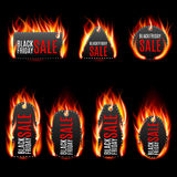 Vector fire labels set. Black friday sale, special tag or badge, business promotion. Vector illustration Royalty Free Stock Images