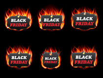 Vector fire labels set. Black friday sale, special tag or badge, business promotion. Vector illustration Royalty Free Stock Photography