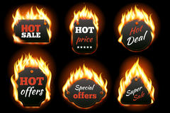 Vector fire labels set. Price and sale, deal and offer, special tag or badge, business promotion. Vector illustration Royalty Free Stock Photo