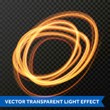 Vector light effect of line circle gold swirl. Glowing light fire flare trace. Vector fire light circle trail effect of gold line swirl trace. Glowing flare Stock Photography