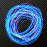 Vector light effect of line circle neon swirl. Glowing light fire flare. Vector fire light circle trail effect of neon line swirl trace. Glowing flare light or Royalty Free Stock Photos