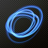 Light line neon swirl effect. Vector glitter circle light fire flare trace. Vector fire light trace effect of circle line neon swirl. Glowing circular round Stock Images