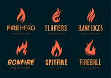 Vector Fire Logos. Set of logo designs with fire symbol. Vector logo templates with different fire shapes. Retro style logotypes with fire Stock Photo