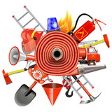 Vector Fire Prevention Concept with Firehose Stock Image
