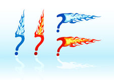 Vector fire question marks. Set of vector colored fire question marks Stock Image