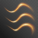 Vector fire sparkle spiral wave line with flying sparkling flash lights. Bokeh glitter magic glowing light swirl trail trace effect on transparent background Stock Photography
