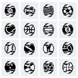 Vector Fire sport balls icon set. On grey background Stock Images