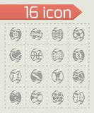 Vector Fire sport balls icon set. On grey background Stock Photography