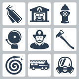 Vector fire station icons set Stock Photos