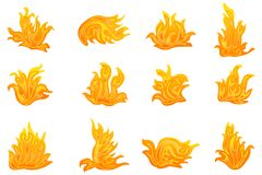 Vector Fire Symbol. Vector illustration of collection of fire symbol against isolated background Royalty Free Stock Image