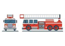 Vector fire truck. Vector isolated red fire engine front, side. Fire truck rescue engine transportation. Firefighter emergency. Flat cartoon illustration Stock Photo
