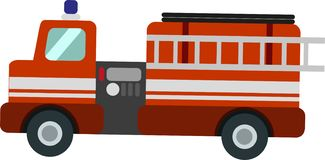 Vector Fire Truck on the White Blackground royalty free illustration