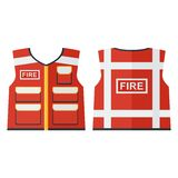 Vector fire vest. Vector red high visibility vest. Work wear, protection wear for firefighter and fireman. Firefighter emergency. Flat cartoon illustration Stock Photography