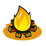 Vector fire on a white background. Burning firewood stacked in a special way Stock Photography