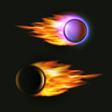 Vector fireball on black background. Flying. Vector fireball on black background. Falling asteroid. Collection of fire balls. Flying artillery projectile in Stock Photography