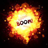 Vector fireball speech bubble with Boom sign Stock Images