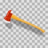 Vector Firefighter Axe Icon. On Grey Checkered Background Stock Photos