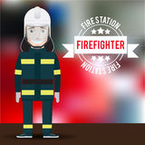 Vector firefighter character on blurred background. Stock Photo