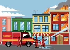 Firefighter extinguish the fire on the building. Vector of firefighter extinguish the fire on the building royalty free illustration