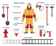 Vector firefighter with extinguishing icons. Hazmat suit, pike pole, protective gloves, shovel and speaker Royalty Free Stock Photography