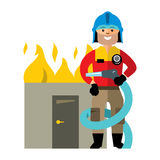 Vector Firefighter. Flat style colorful Cartoon illustration. Man in uniform with a hose to extinguish a burning building. Isolated on a white background Royalty Free Stock Photo