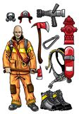 Firefighter gear set. Vector of firefighter gear set Royalty Free Stock Photos