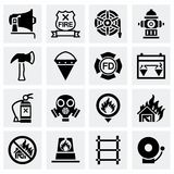 Vector Firefighter icon set. On grey background Stock Photos