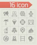 Vector Firefighter icon set. On grey background Royalty Free Stock Photography