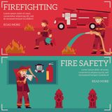 Vector firefighting and fire safety concept banner. Firefighting and fire safety concept banners set. Fireman in fire protection uniform extinguishing fire, male Royalty Free Stock Photos