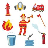 Vector fireman in protection uniform equipment set. Fireman in fire protection uniform, helmet standing with megaphone loudspeaker alarming danger, firetruck Stock Photos