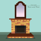 Vector fireplace. Antique mirror. Home sweet home. Vector fireplace with home sweet home ahd antique mirror with format eps10 Royalty Free Stock Image