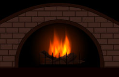 Vector fireplace with burning fire. Christmas and interior background Royalty Free Stock Photos