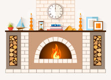 Vector fireplace design. The design of the fireplace. Room with a large brick fireplace with chimney, mantel decorations and souvenirs. Vector illustration Stock Photography