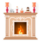 Vector fireplace design template. Freplace in classic style isolated on white background. Flat vector illustration. Fireside design template Royalty Free Stock Image
