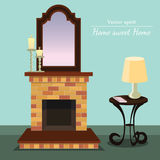 Vector fireplace. Home sweet home. Coffee table. Vector fireplace with Home sweet home with coffee table with format eps10 Royalty Free Stock Image