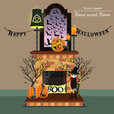 Vector fireplace. Home sweet home.Halloween style. Vector fireplace with halloween style with format eps10 Stock Photography