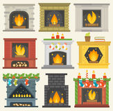 Vector fireplace isolated house room warm christmas decoration. Set of vector fireplace icons. house room warm christmas silhouette. Fireplace flame bright Royalty Free Stock Photo