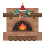 Vector fireplace. Merry Christmas and harry New Year holiday decoration. Illustration Royalty Free Stock Photos