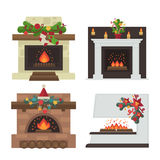 Vector fireplace. Merry Christmas and harry New Year holiday decoration. Illustration set Stock Photos