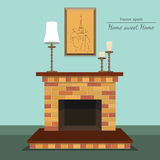 Vector fireplace. Sweet home. Painting and candle. Vector fireplace with home sweet home with painting and candle with format eps10 Royalty Free Stock Photos