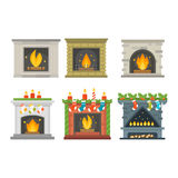 Vector fireplace  on white Stock Image