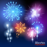 Vector Firework Collection Stock Photography