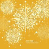 Vector firework design. Vector firework design on white background with scattered stars and sparkles. Bright festive decoration Royalty Free Stock Photos