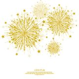Vector firework design. Vector firework design on white background with scattered stars and sparkles. Bright festive decoration Stock Image