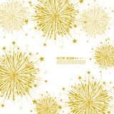 Vector firework design. Vector firework design on white background with scattered stars and sparkles. Bright festive decoration Stock Photo